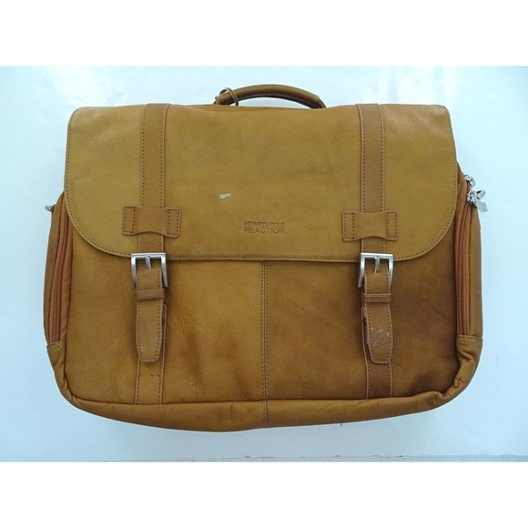 Kenneth Cole Brown Leather Messenger Bag Briefcase